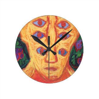 Ten Blue Eyes (odd expressionism surreal portrait) Wall Clocks