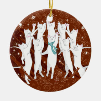 Ten Cats a-Leaping... Christmas Tree Ceramic Ornament