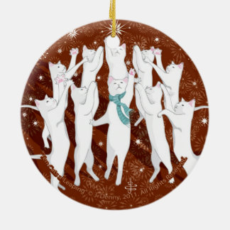 Ten Cats a-Leaping... double sided Ceramic Ornament
