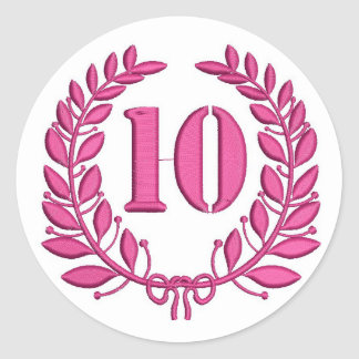ten celebration classic round sticker