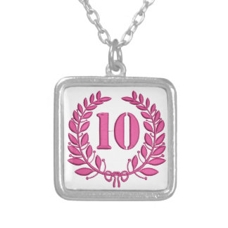 ten celebration imitation embroidery silver plated necklace