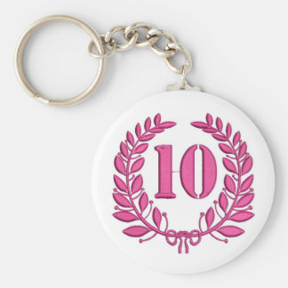 ten celebration keychain