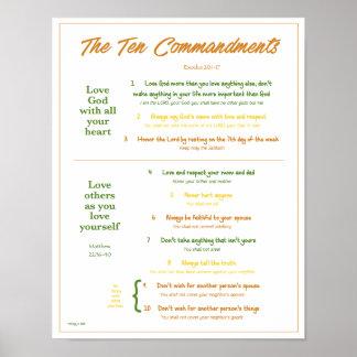 Ten Commandments for Kids--Earth Tones w/border Poster