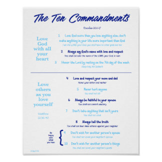 Ten Commandments for Kids--Navy/Light Blue 2 Poster