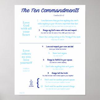Ten Commandments for Kids--Navy/Light Blue Poster