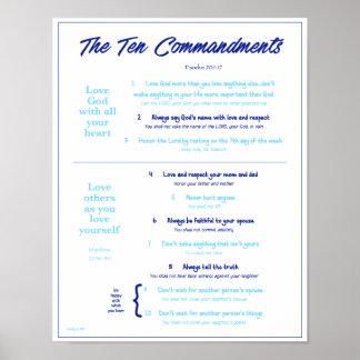 Ten Commandments for Kids--Navy/Lt Blue 2 w/border Poster