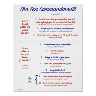 Ten Commandments for Kids--Navy/Red Poster