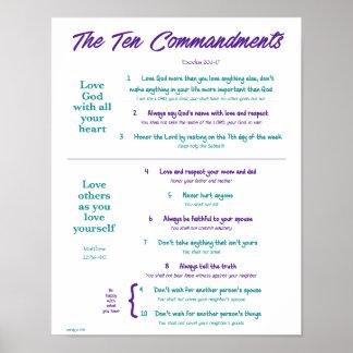 Ten Commandments for Kids--Purple/Teal 2 Poster