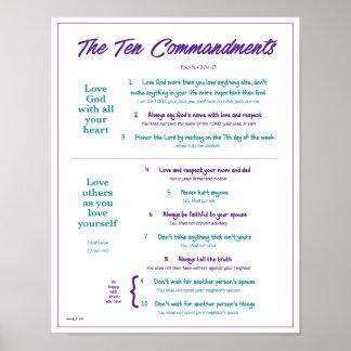 Ten Commandments for Kids--Purple/Teal 2 w/border Poster
