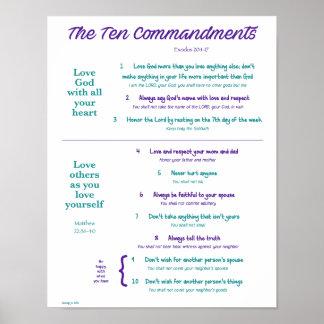 Ten Commandments for Kids--Purple/Teal Poster
