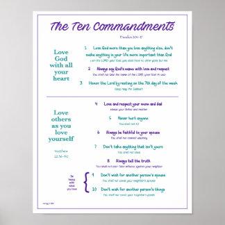 Ten Commandments for Kids--Purple/Teal w/ border Poster