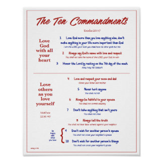 Ten Commandments for Kids--Red/Navy 2 w/ border Poster