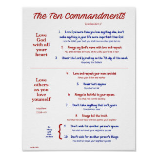 Ten Commandments for Kids--Red/Navy Poster