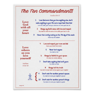 Ten Commandments for Kids--Red/Navy w/border Poster