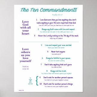 Ten Commandments for Kids--Teal/Purple Poster