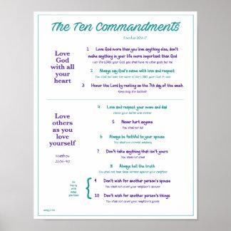 Ten Commandments for Kids--Teal/Purple w/border Poster
