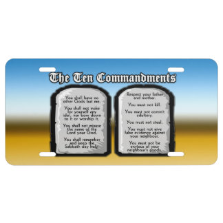 Ten Commandments of the Holy Bible, God's Law License Plate