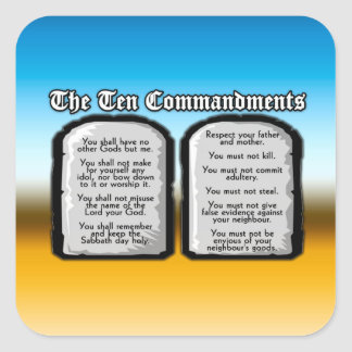 Ten Commandments of the Holy Bible, God's Law Square Sticker