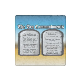 Ten Commandments of the Holy Bible, God's Law Stone Magnets