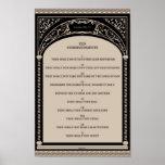 Ten Commandments on Parchment Art Deco Arch Scroll Poster