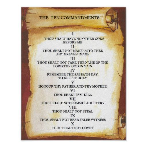 Ten Commandments on Parchment Scroll Poster