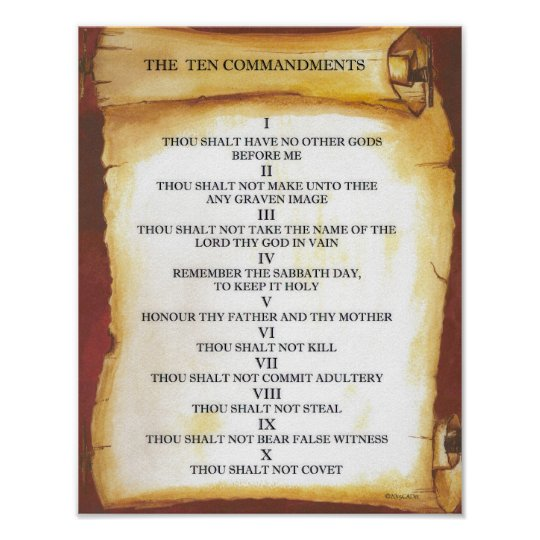 Ten Commandments on Parchment Scroll Poster