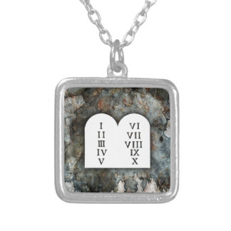 Ten Commandments Silver Plated Necklace