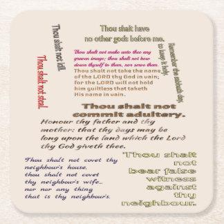 Ten Commandments Square Paper Coaster