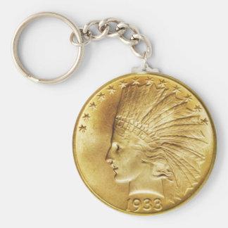 Ten Dollar Gold Indian Coin Keychain