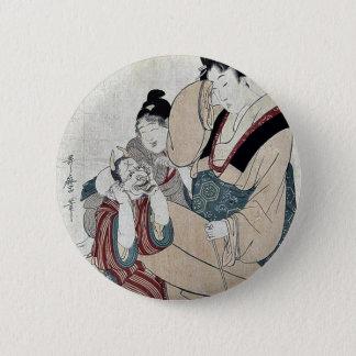 Ten erotic names by Kitagawa, Utamaro Ukiyoe 2 Inch Round Button