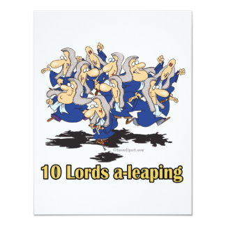 ten lords a-leaping 10th tenth day of christmas personalized invitations