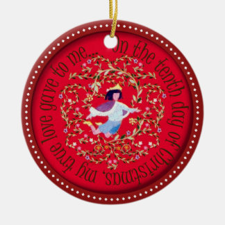 Ten lords aleaping round ceramic ornament