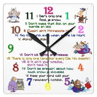 Ten Minnesota Commandments Square Clock