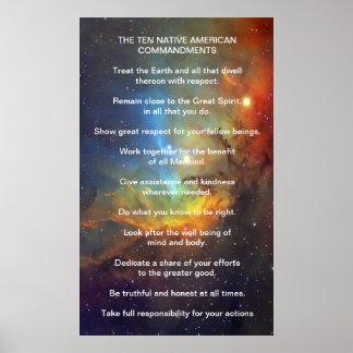 Ten Native American Indian Commandments Poster