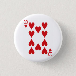Ten of Hearts Playing Card 1 Inch Round Button