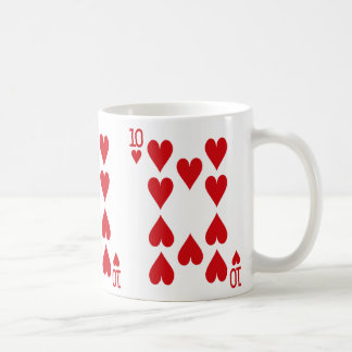 Ten of Hearts Playing Card Coffee Mug