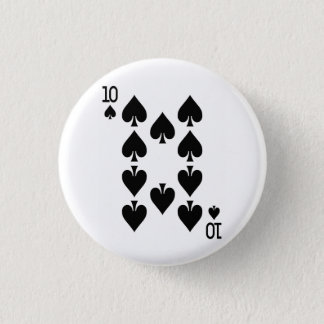 Ten of Spades Playing Card 1 Inch Round Button