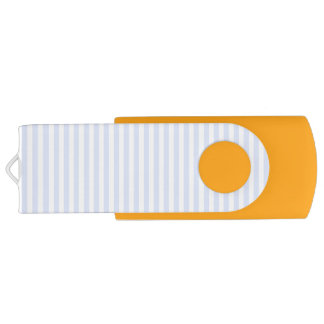 Tender Baby Blue Pale Sky Blue and White Stripe Swivel USB 2.0 Flash Drive
