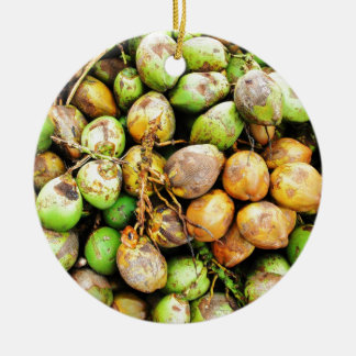 tender coconuts round ceramic ornament