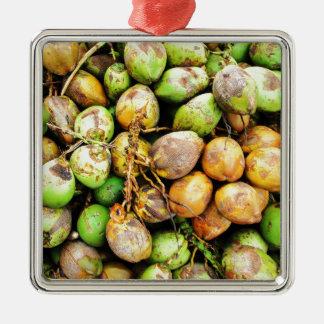tender coconuts Silver-Colored square ornament