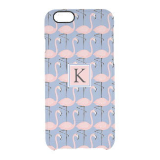 Tender Flamingo Pattern | Monogram Clear iPhone 6/6S Case