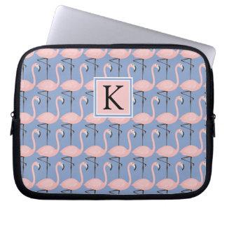 Tender Flamingo Pattern | Monogram Laptop Sleeves