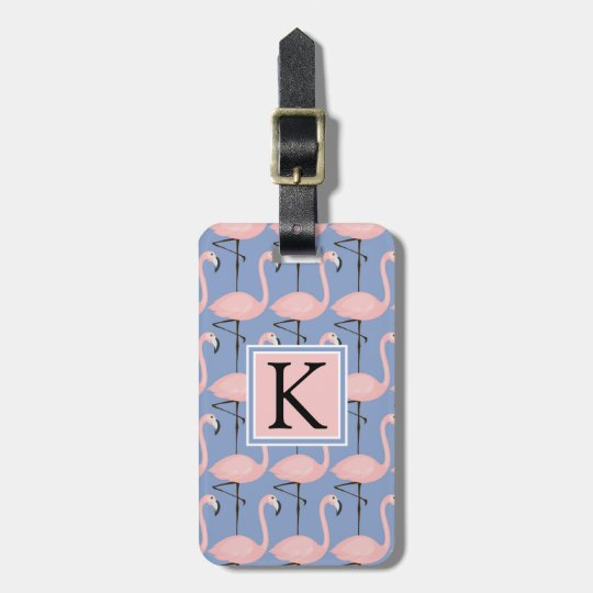 Tender Flamingo Pattern | Monogram Luggage Tag