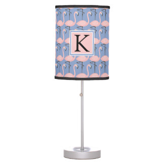 Tender Flamingo Pattern | Monogram Table Lamps