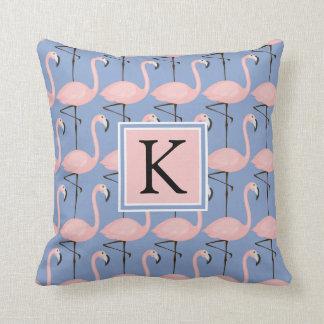 Tender Flamingo Pattern | Monogram Throw Pillow