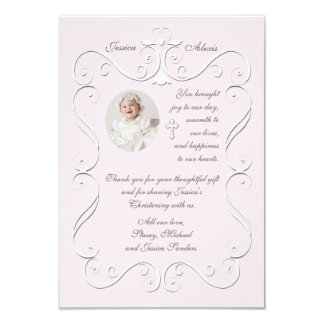 """Tender Heart Pink Religious Photo Thank You 3.5"""" X 5"""" Invitation Card"""