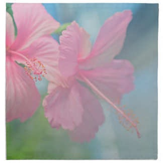 Tender macro shoot of pink hibiscus flowers napkin