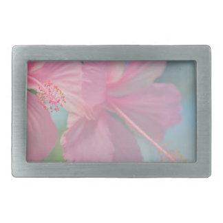 Tender macro shoot of pink hibiscus flowers rectangular belt buckles