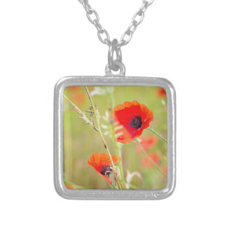 Tender shot of red poppies on the field silver plated necklace