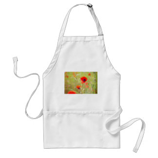 Tender shot of red poppies on the field standard apron